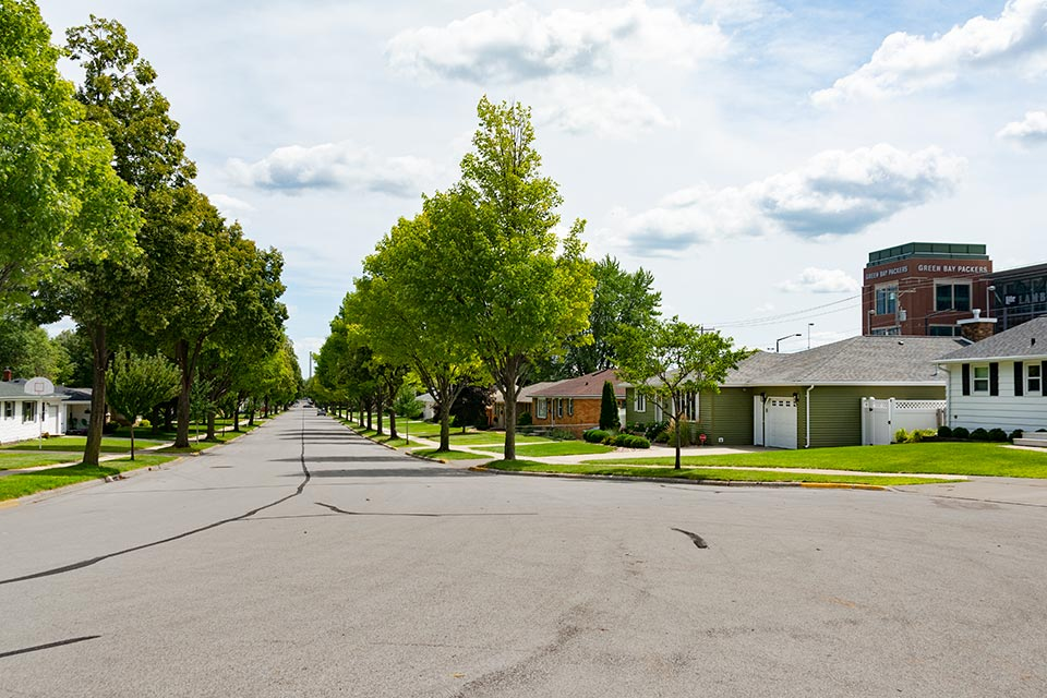 Tree Lined Residential Houses Near the Green Bay Packer's Lambeau Field