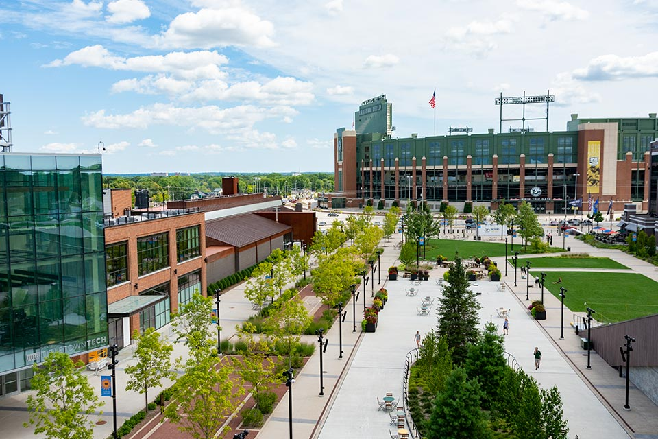 Green Bay Packer's Titletown District from Ariens Hill